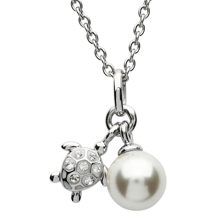 Turtle Pearl Silver Pendant Adorned With White Crystal