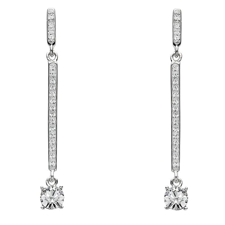 Two Part Silver Drop Earrings Encrusted With White Crystal St11