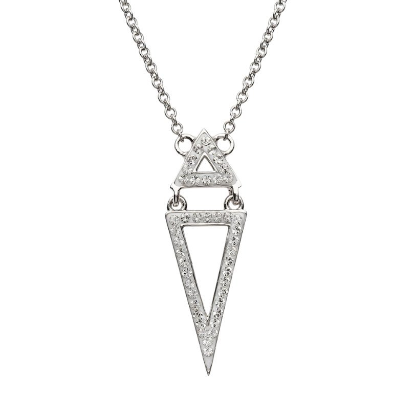 Two Part Silver Triangle Pendant Embellished With White Swarovski Crystal