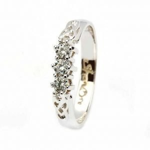 Celtic Diamond Ring 14K White Gold 3 Stone 25Ct 14Rc3Stwd