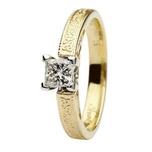 Celtic Diamond Ring 14K Yellow And White Gold Princess Cut Br1 Pr