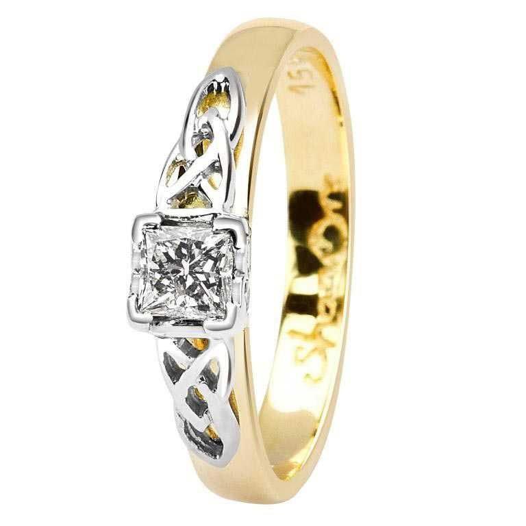 Celtic Diamond Ring 14K Yellow White Gold Princess Cut 14M4S6Yw