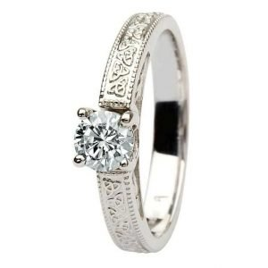 Celtic Diamond Solitaire 14K White Gold Round Cut Br1W Rd
