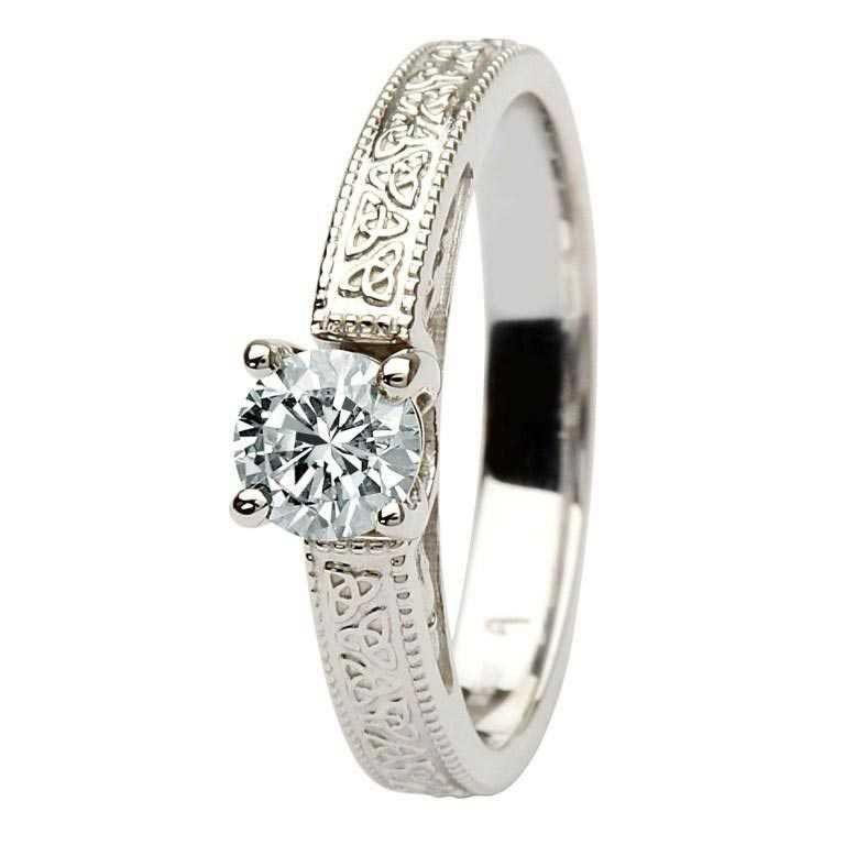 Celtic Diamond Solitaire 14K White Gold Round Cut Br1W Rd