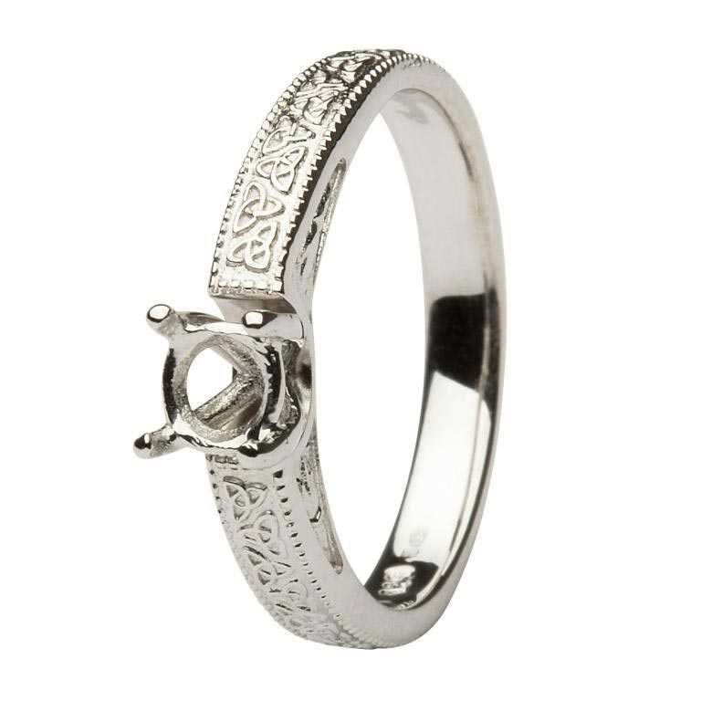 Celtic Diamond Solitaire 14K White Gold Round Cut Engagement Ring Br1W Mount Only