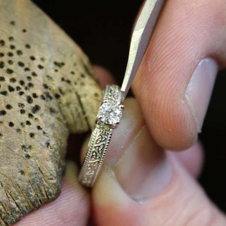 Celtic Diamond Solitaire 14K White Gold Round Cut Engagement Ring Br1W Mount Only_3