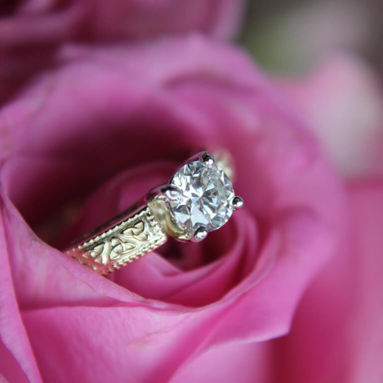 Celtic Diamond Solitaire 14K White Gold Round Cut Engagement Ring Br1W Mount Only_4