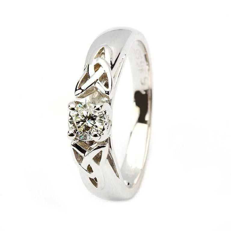 Celtic Diamond Solitaire White Gold Round Cut Jp1W