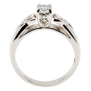 Celtic Diamond Solitaire White Gold Round Cut Jp1W_2