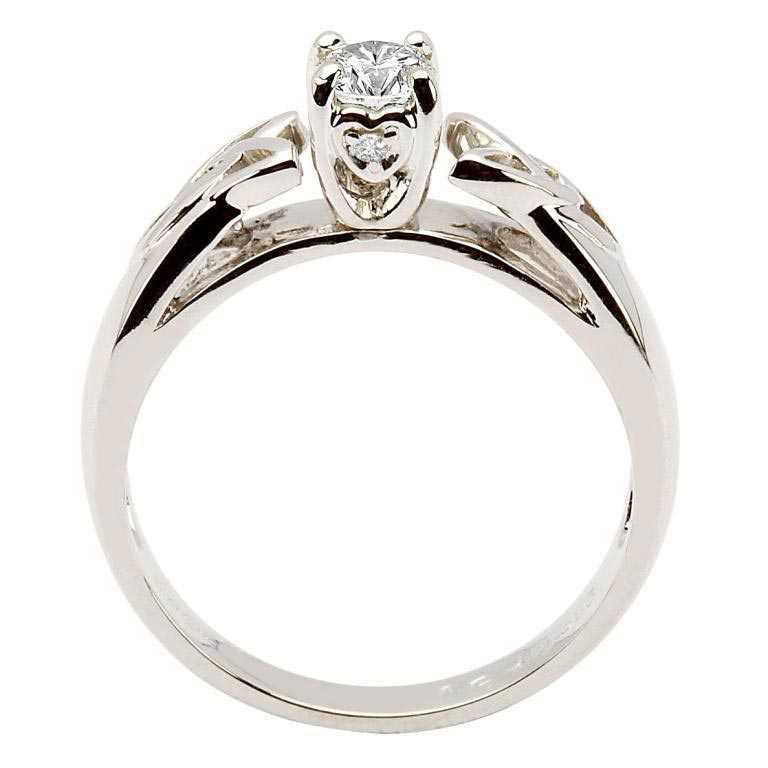 Celtic Diamond Solitaire White Gold Round Cut Jp1W_2