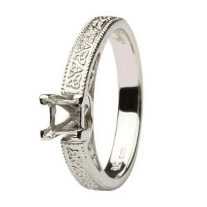 Celtic Engagement Ring 14K White Gold Mount Only Princess Cut Br1W Pr Mount Only