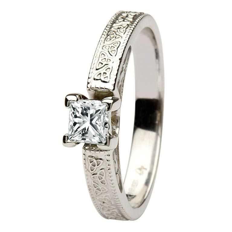 Celtic Engagement Ring 14K White Gold Solitaire Princess Cut Diamond Br1W Pr