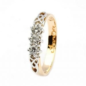 Celtic Engagement Ring 14K Yellow And White 3 Stone 25Ct 14Rc3Std