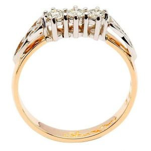 Celtic Engagement Ring 14K Yellow And White 3 Stone 25Ct 14Rc3Std_2