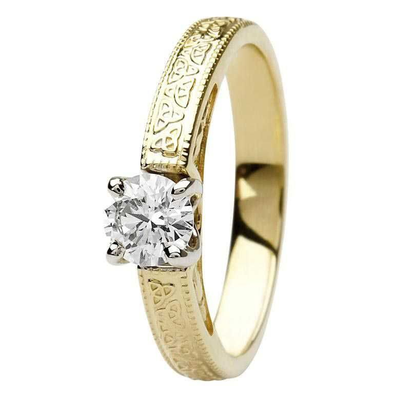 Celtic Engagement Ring 14K Yellow And White Gold Diamond Round Cut Br1 Rd