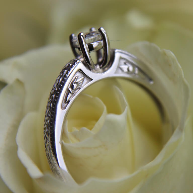 Celtic Engagement Ring 14K Yellow And White Gold Mount Only Round Cut Br1 Rd Mount Only_5