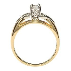 Celtic Engagement Ring 14K Yellow And White Gold Round Cut Solitaire Jp1_2