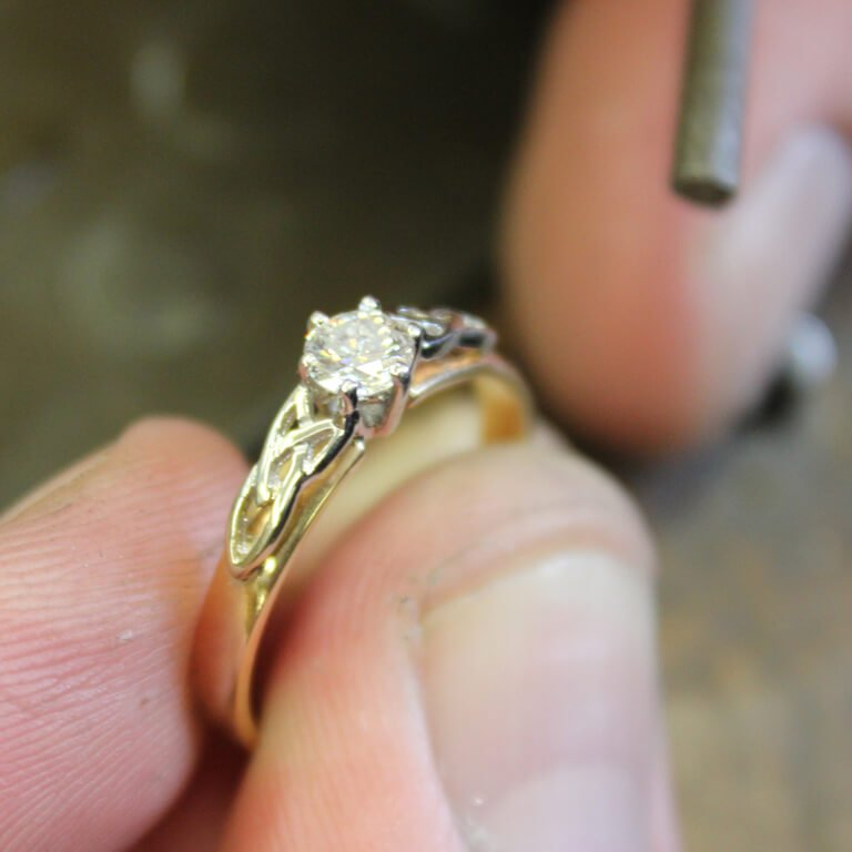 Celtic Engagement Ring 14K Yellow White Gold Diamond Round Cut 14M1S6Yw_2
