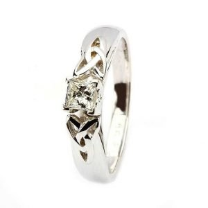 Celtic Engagement Ring White Gold Solitaire Princess Cut Diamond Jp4W
