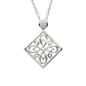 Celtic Intricate Silver Pendant Set With Cz Td241
