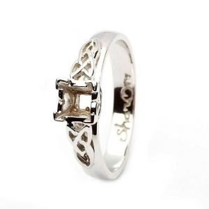 Celtic Mount Only Ring 14K White Gold Ring For Princess Cut Diamond 14M4S6W Mount Only