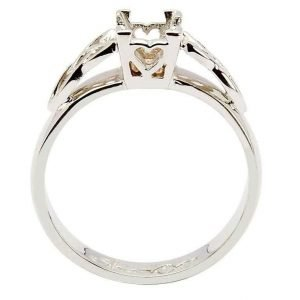 Celtic Mount Only Ring 14K White Gold Ring For Princess Cut Diamond 14M4S6W Mount Only_2