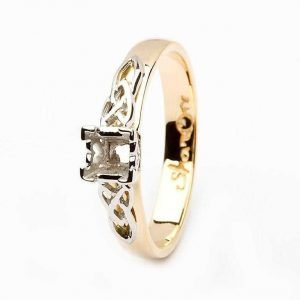 Celtic Mount Only Ring 14K Yellow And White Gold For Princess Cut Diamond 14M4S6Yw Mount Only