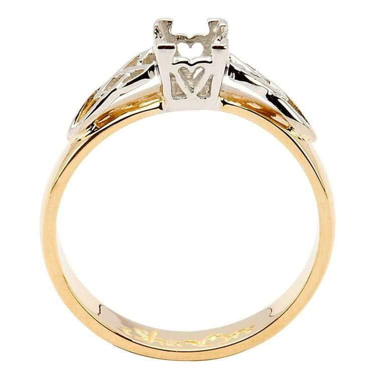 Celtic Mount Only Ring 14K Yellow And White Gold For Princess Cut Diamond 14M4S6Yw Mount Only_2
