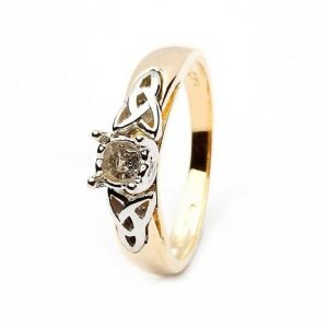 Celtic Mount Only Ring 14K Yellow And White Gold For Round Cut Diamond Jp1 Mount Only