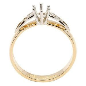 Celtic Mount Only Ring 14K Yellow White Gold For Round Cut Diamond 14M1S6Yw Mount Only_2