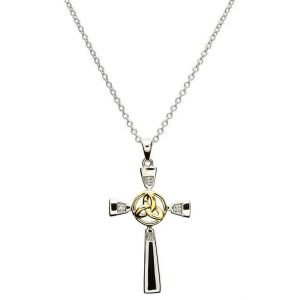 Celtic Silver Cross With Gold Plate Trinity Sf11