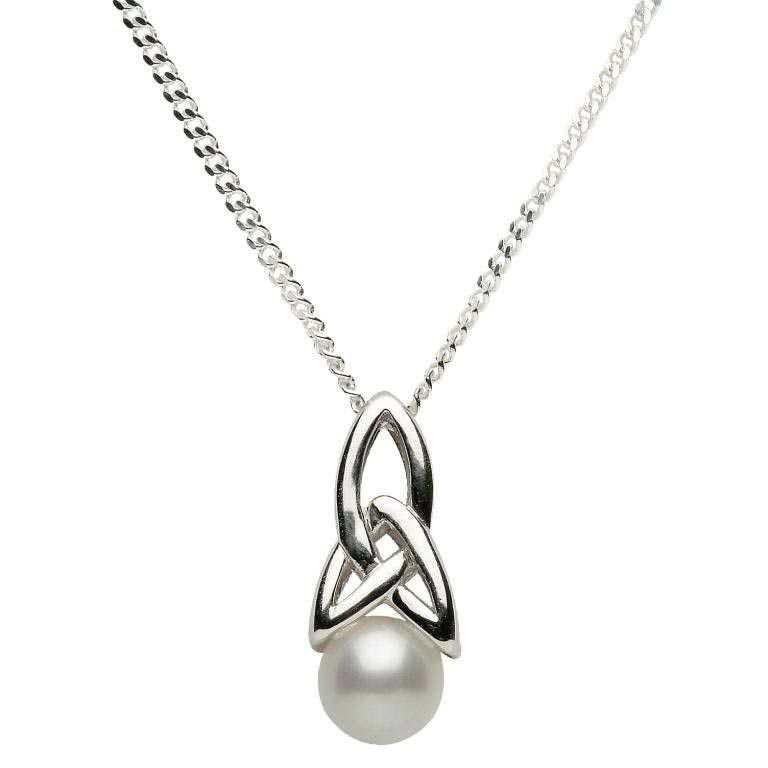 Celtic Silver Pearl Necklace Spcp1