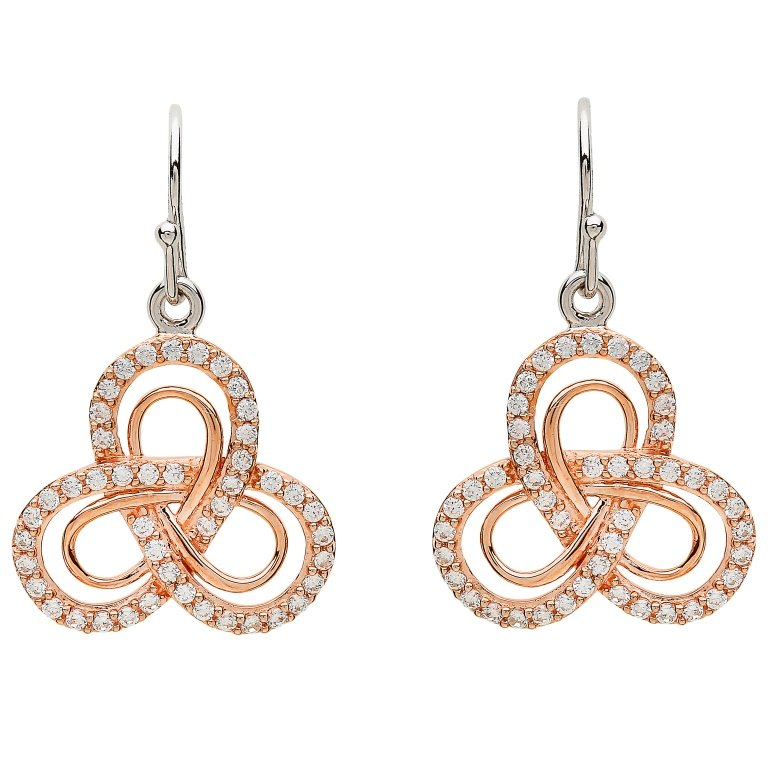 Celtic Silver Rose Gold Plated Stone Set Earrings Se2204