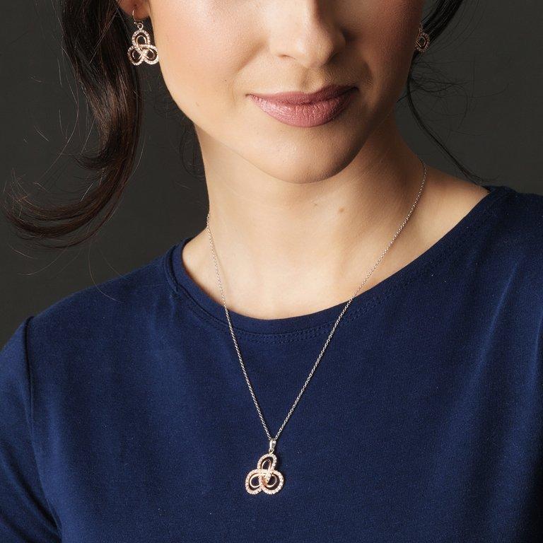 Celtic Silver Rose Gold Plated Stone Set Earrings Se2204_2