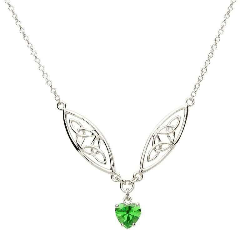 Celtic Silver Stone Set Trinity Necklace Sp2016Gr