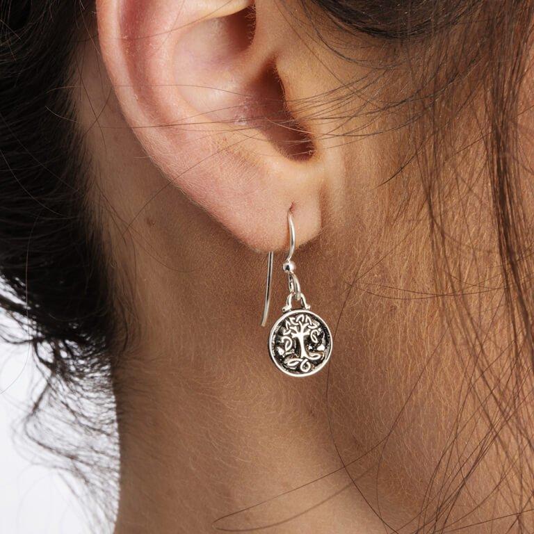 Celtic Silver Tree Of Life Earrings Se2226_2