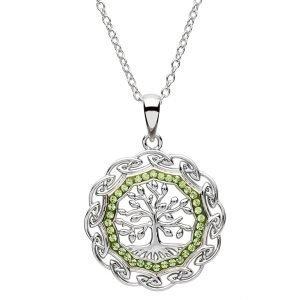 Celtic Silver Tree Of Life Pendant Embellished With Swarovski Crystal Sw110
