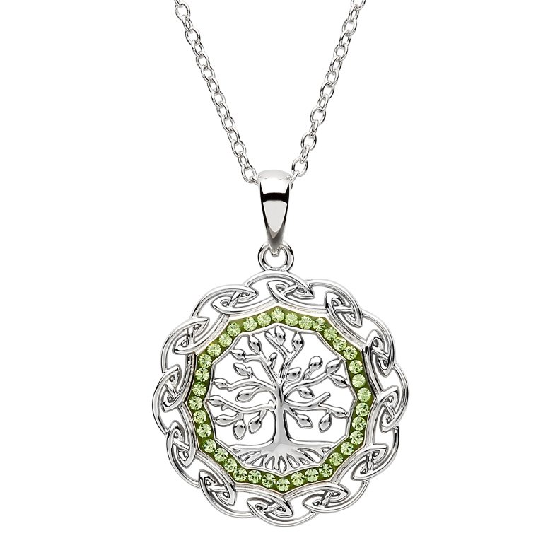 Celtic Silver Tree Of Life Pendant Embellished With Swarovski Crystal Sw110
