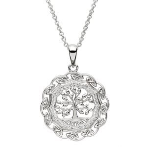 Celtic Silver Tree Of Life Pendant Embellished With Swarovski Crystals Sw109