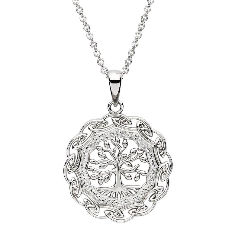 Celtic Silver Tree Of Life Pendant Embellished With Swarovski Crystals Sw109