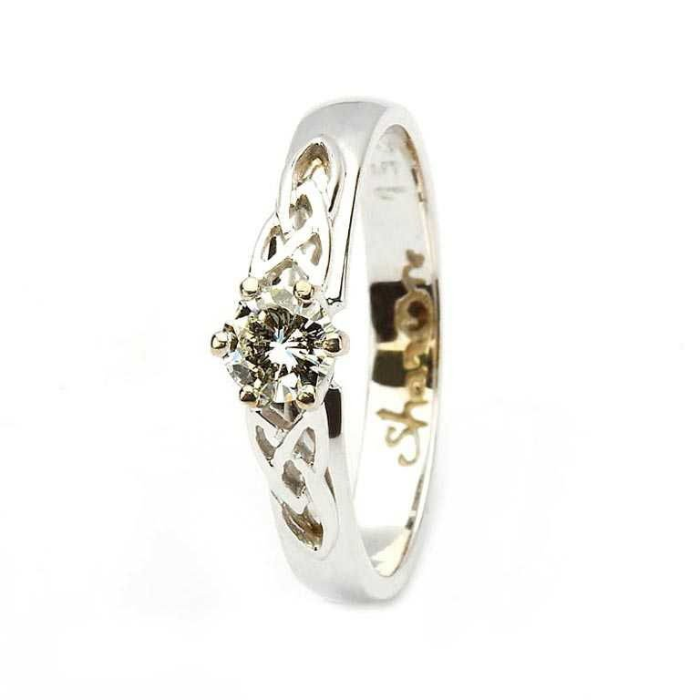 Celtic Solitaire Diamond 14K White Gold Ring Round Cut 14M1S6W