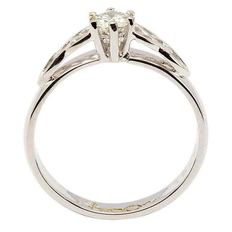 Celtic Solitaire Diamond 14K White Gold Ring Round Cut 14M1S6W_2