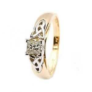 Celtic Solitaire Diamond Ring 14K Yellow And White Gold Princess Cut Jp4