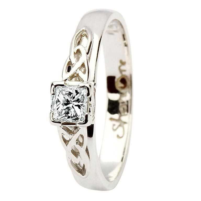 Celtic Solitaire Ring 14K White Gold Princess Cut Diamond 14M4S6W