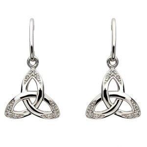 Celtic Stone Set Trinity Knot Earrings Se2109Cz