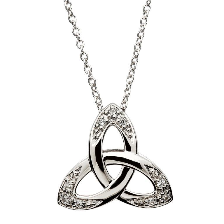 Celtic Stone Set Trinity Knot Necklace Sp2108