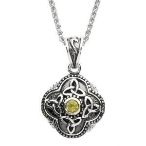 Celtic Tribal Silver Stone Set Trinity Necklace Sp2208Pt