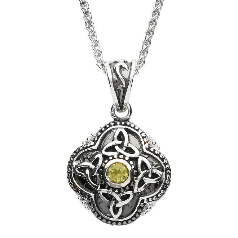 Celtic Tribal Silver Stone Set Trinity Necklace Sp2208Pt