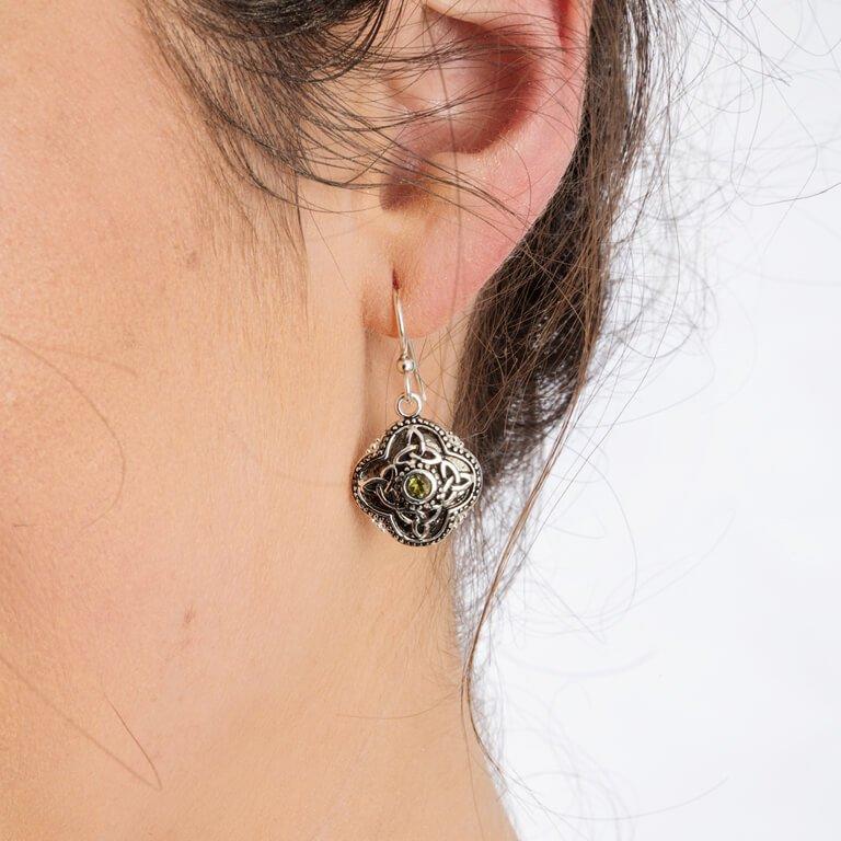 Celtic Tribal Silver Trinity Earrings Se2210Pt_2