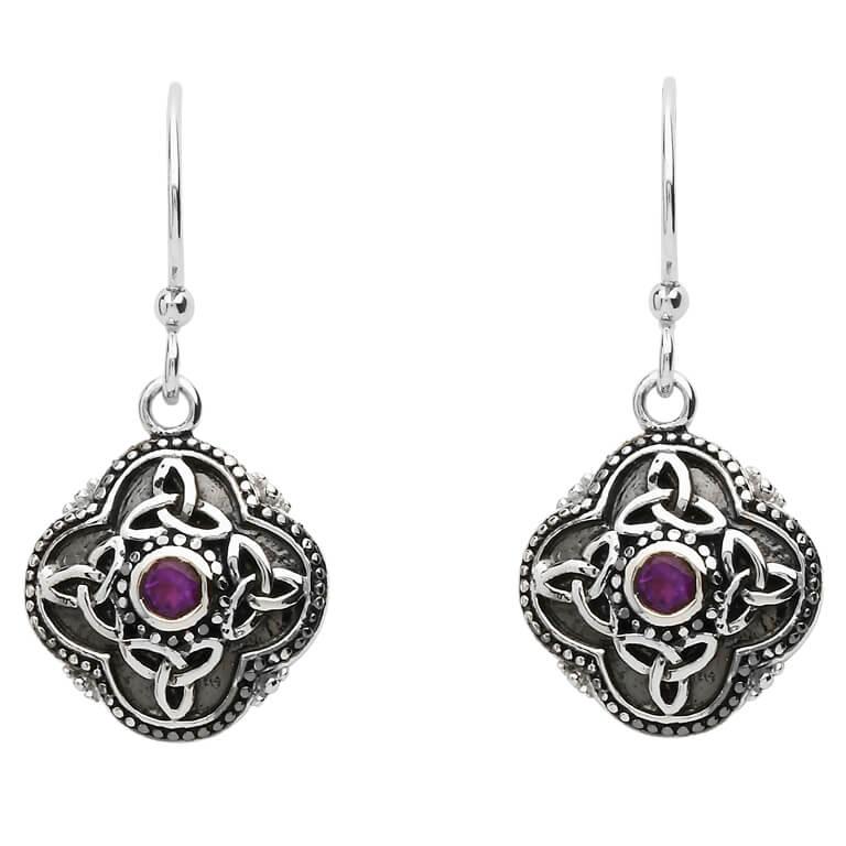 Celtic Tribal Silver Trinity Knot Earrings Se2210Ay
